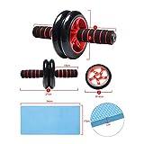 Topgoods2016 Bauchtrainer Roller AB Wheel mit Liegestützgriffe mit Trainingsband set - 5