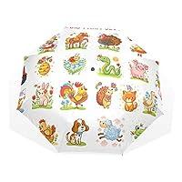 Jeansame Cute Emoji Kids Cartoon Animals Folding Compact Umbrella Sun Rain Manual Umbrellas for Women Men Kid Boy Girl