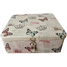 vintage caja decorativa metal pub reina corona mariposas