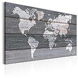 murando - Impression sur toile - 90x60 cm - 1 Piece - Image sur toile - Images - Photo - Tableau - motif moderne - Décoration - tendu sur chassis - Poster carte du monde bois carte continente k-B-0015-b-d