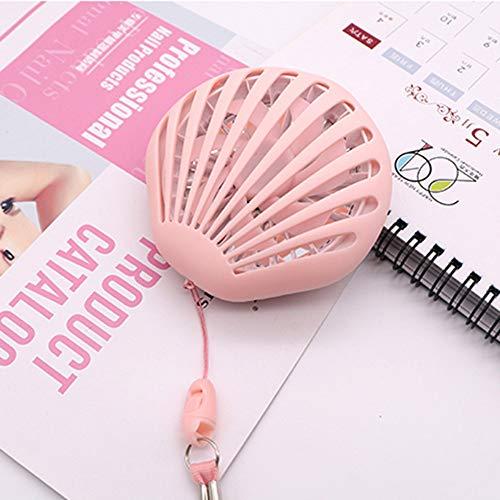ACOMG Handventilator, Mini-Faltventilator Tragbarer, wiederaufladbarer USB-Ventilator mit Schminkspiegel für Einkäufe im Freien, Haushalt, Büro, Bibliothek usw, einstellbare Windgeschwindigkeit,Pink