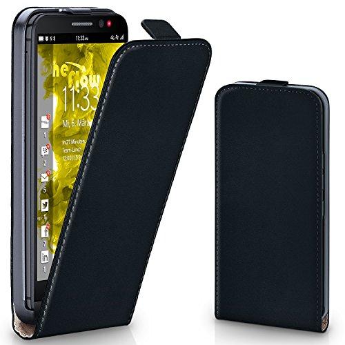 moex BlackBerry Z30   Hülle Schwarz 360° Klapp-Hülle Etui thin Handytasche Dünn Handyhülle für BlackBerry Z30 Case Flip Cover Schutzhülle Kunst-Leder Tasche