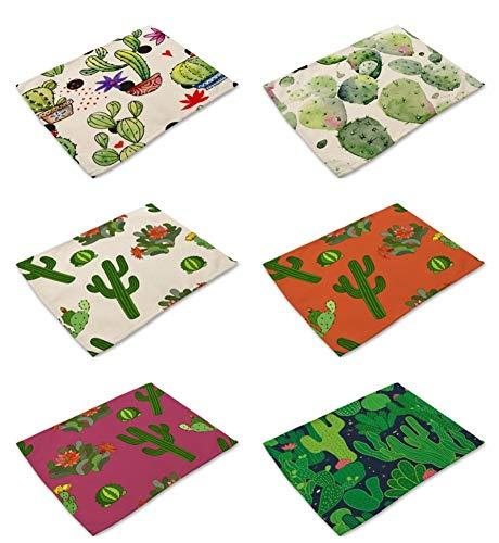 Tovagliette set 6, il cotone e il lino blended tessuto resistente al calore vintage lavabile creativo b 6 verde cactus retro pittura ad olio per effetto stampato stoffa per tutta la famiglia