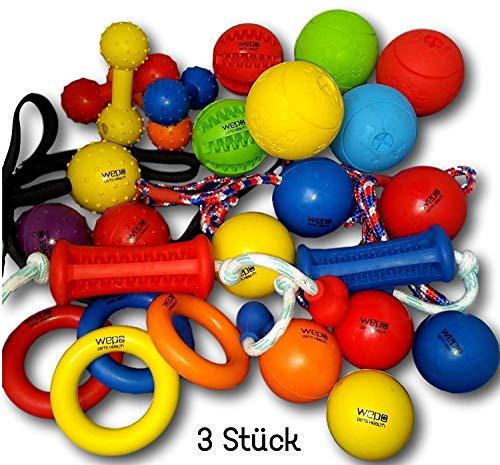 WEPO Hundespielzeug Set 3er Mix Intelligenzspielzeug Schleuderball Kauball Kauknochen Kauring Dentalball - Hundespielzeug Wepo