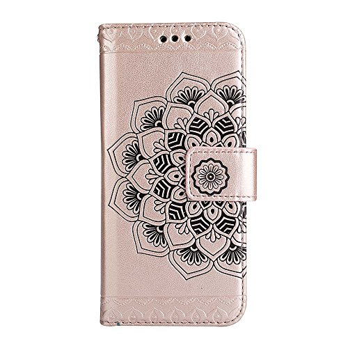 Custodia iPhone 8 Plus[Protezione Libera dello Schermo], ESSTORE-EU Premium Portafoglio Protettiva Cover Custodia, Retrò Mandala Flip Wallet Case Custodia in Pelle per Apple iPhone 8 Plus (2017) - Con Oro rosa