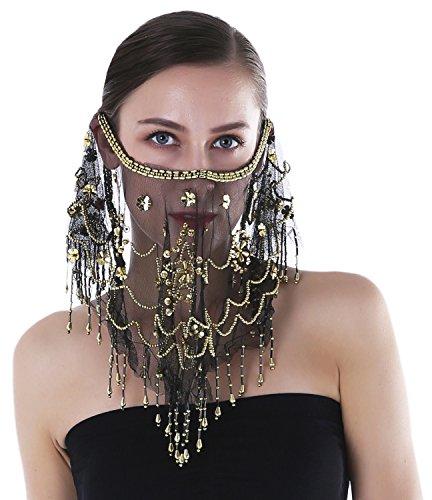 Seawhisper Halloween Kostüm Damen Bauchtanz-Komplet, Gesichtsschleier-schwarz, Einheitsgröße (Bauchtanz Kostüm Schwarz)