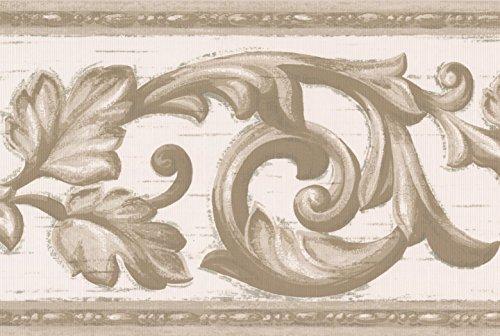 Grigio vine bianco bordo carta da parati damascata vintage design, roll 15'x 17,8cm