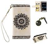 Case pour la Huawei P9 Lite Coque,Fleur de papillon Étui en PU Cuir Phone Case Cover Couverture Fonction Support avec Fermeture Aimantée de Feuille Motif Imprimé+Bouchons de poussière (8AM)