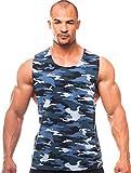 Camuflaje muscular entrenamiento de corte cuello redondo–laterales abiertos–fabricado en los Estados Unidos