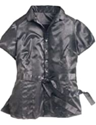 adonia mode Satinbluse Satin Stretch Bluse Gürtel , Gr. 44 - 56
