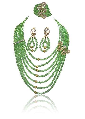 Grün Exklusive afrikanischen Perlen 7Schichten Kristall Dubai Hohe Qualität Schmuck Set