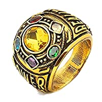 Avengers:Infinity War Thanos Stone Power Ring Gold Ring Jewelry Gauntlet Power Ring