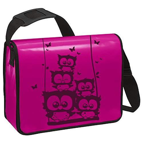 Schultertasche Schultasche Planentasche Umhängetasche Eulchen Eulen auf Schaukel ta222 - ausgewählte Farbe: *Weiß - schwarzer Aufdruck* Pink - lilafarbender Aufdruck