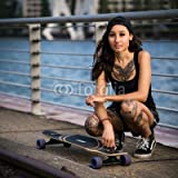 druck-shop24 Wunschmotiv: attraktive tätowierte junge Frau mit Longboard #117767742 - Bild auf Leinwand - 3:2-60 x 40 cm/40 x 60 cm