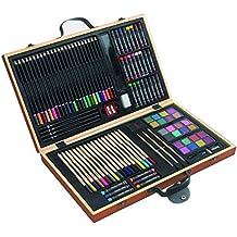 Caja de pinturas, 88 piezas, lápices de colores, ceras, pinceles, caja de madera