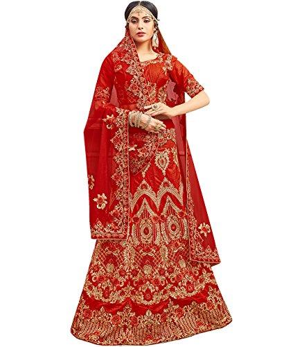 Indian Ethnicwear Bollywood Pakistani Wedding Red A-Line Lehenga Semi-stitched-ROY26853