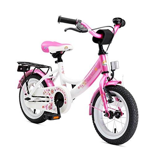 BIKESTAR Premium Sicherheits Kinderfahrrad 12 Zoll für Mädchen ab 3-4 Jahre | 12er Kinderrad Classic | Fahrrad für Kinder Pink & Weiß Classic 12