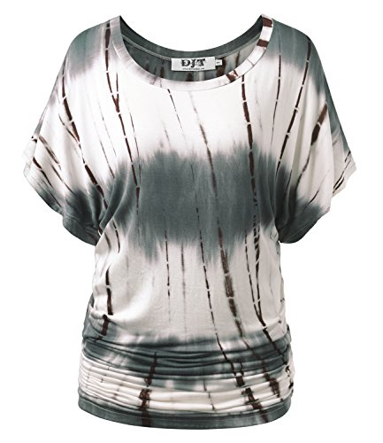 DJT Damen Rundhals Kurzarm T-Shirt Fledermaus Batwing Sommer Stretch Tunika Tie-Dye Kaffee XL