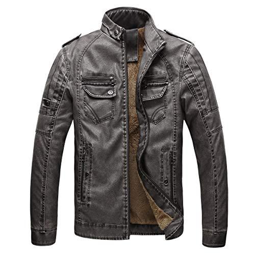Herren Übergröße Jacke Mantel Herbst und Winter Leder Plus Velvet Washed Retro Denim Warmer Outercoat(3XL,Grau)