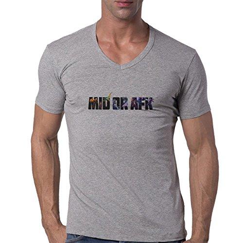 League Of Legends Mid Or Afk Herren V-Neck T-Shirt Grau