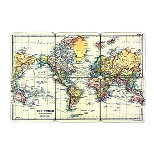 on Welt - Weltkarte Untersetzer 6er Set Outdoor, Grau, One Size ()