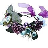AWAYTR Bandeau cheveux de mariage floral Couronne Couronne de fleurs (Foncé Violet + Bleu)