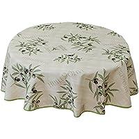 –Mantel redondo antimanchas y aceitunas, lavable, tejido crema con diseño de aceitunas, borde verde claro, 100% poliéster