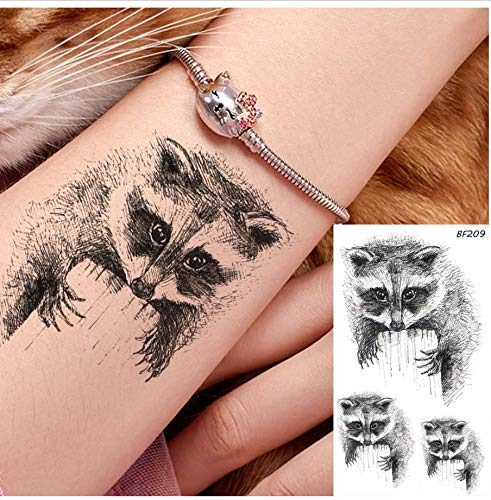Waschbär Schwarz Wasserdichter Arm Koala Tattoo Aufkleber Skizze Body Art Cartoon Tattoo Temporäre Handgelenk Make-Up Tipps Tattoo Aufkleber ()
