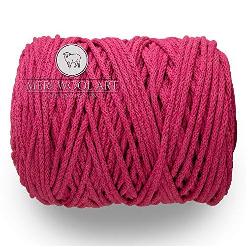 MeriWoolArt Makramee Makramee Garn 6mm, 100m, 50m Baumwolle Seil, Kordel für Tepisch, Quasten, Kisen, Ablagekörbe und Baumwolle Stricken (Pink, 50 Meter)