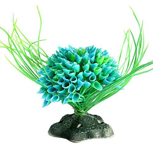 Pinzhi SchmetterlingsForm Kunststoff Künstliche Aquarien Pflanze Dekoration FischBehälter Dekorative Pflanze Gras Ornament (Blau)