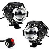 Justech 2 X Motorrad Scheinwerfer mit Schalter Motorrad vorne Scheinwerfer 2 Stück 125W 3000LM CREE U5 LED Motorrad Nebelscheinwerfer mit universalem 3-Tasten Schalter