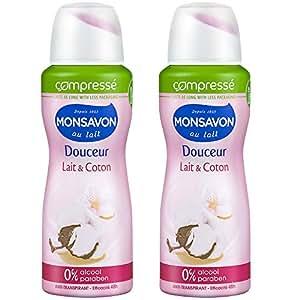 Monsavon Déodorant Femme Spray Lait et Coton Anti Transpirant 100ml - Lot de 2