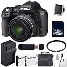 Pentax K-50 DSLR Camera With 18-55mm Lens (Black) + Replacement Lithium Ion Battery + External Rapid Charger + 32GB SDHC Class 10 Memory Card + Deluxe Starter Kit 6AVE Bundle