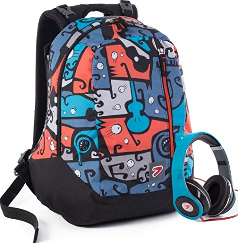 Zaino SEVEN - THE DOUBLE JANGLE - Blue Arancione - cuffie stereo con grafica abbinata incluse! 2 zaini in 1 REVERSIBILE