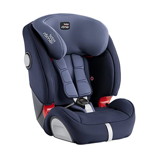 Britax Römer EVOLVA 1-2-3 SL SICT Group 1-2-3 (9-36kg) Car Seat - Moonlight Blue  CLICK & SAFE audible harness system for that extra reassurance when securing your child in the seat The padded headrest and harness can easily be adjusted with one hand to suit your child's height performance chest pads - provide comfort and reduce your child's forward movement in a frontal collision 5