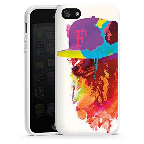 Apple iPhone 4 Housse Étui Silicone Coque Protection Renard avec casquette Peinture à l'eau Housse en silicone blanc