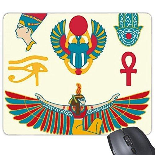 CFHJN Home Altägypten-Flag-abstraktes dekoratives Muster-Adler-Gott-Hand-Scarabäus-Augen-Dekorations-Kunst-Muster-Rechteck Rutschfeste Gummi-Mousepad-Spiel-Mausunterlage