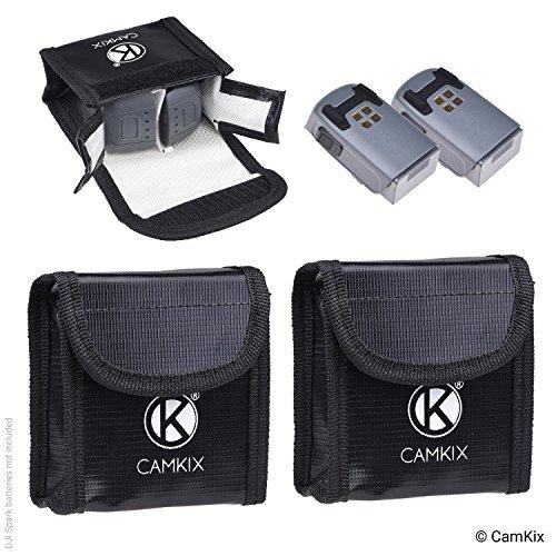 CamKix® Explosionsgeschützte LiPo-Akku-Tasche für DJI Spark - 2-er Pack - Feuerresistente Sicherheits- und Aufbewahrungstasche - Für sichere Ladung und Transport - Bis zu 4 Spark Akkus