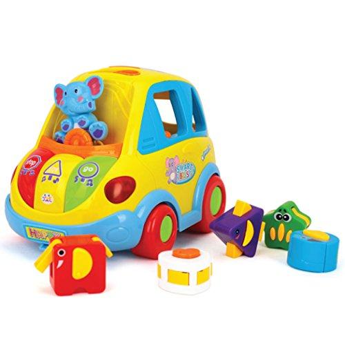 Autobús interactivo para niños pequeños con actividades de aprendizaje. Con formas para encastrar, música, sonido y luz