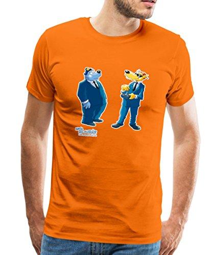 Spreadshirt Käpt'n Blaubär Und Hein Blöd Agenten Männer Premium T-Shirt, XL, Orange (Orange Agent T-shirt)