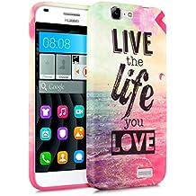 kwmobile Funda para Huawei Ascend G7 - Case para móvil en TPU silicona - Cover trasero Diseño Live the Life en multicolor rosa fucsia azul