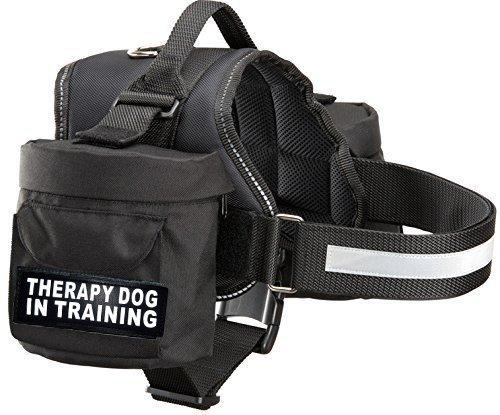Therapy Dog in Training Geschirr mit Abnehmbarem Satteltasche Rucksack Geschirr Carrier Reisen. 2Abnehmbare Klett Patches. Bitte Messen Sie Hund vor Bestellung, Girth 19-25