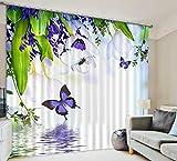 H&M Gardinen Vorhang Grüne Blätter ein lila Schatten Tuch UV warmen dekoriert Schlafzimmerfenster Vorhangstoff 3D-Druck fertig , wide 3.0x high 2.7