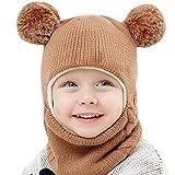 ZHANSANFM Unisex-Baby Jungen Mädchen Mütze Frühling Winter Beanie Strickmütze mit Schal Niedlich Double Pompom Wintermütze Warme Weiche Baumwollkaps Kindermützen Schnee Hut