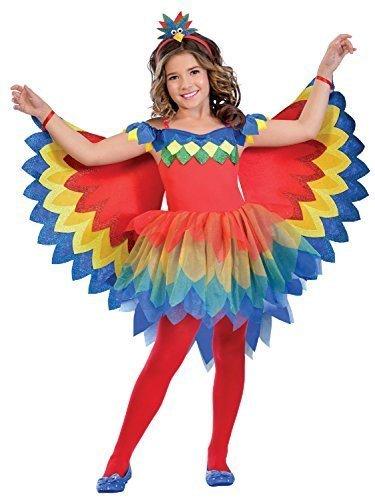 Fancy Me Mädchen hübsch Papagei Fee bunt Karneval Tier Sommer Leuchtend 3-TLG. Kostüm Kleid Outfit 5-12 Jahre - Rot, 9-10 Years