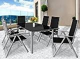 Deuba® Aluminium Sitzgruppe 6+1 Silber | 6 verstellbare Stühle | Tisch höhenverstellbar | 5mm Tischplatte aus Sicherheitsglas | wetterfest Drinnen & Draußen [ Modellauswahl 4+1 / 6+1 / 8+1 ] – Alu Sitzgarnitur Gartenmöbel Gartenset Essgruppe Gartengarnitur Klappstuhl Gartenmöbelset - 2