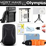 Accessories Bundle Kit For Olympus Stylus Tough 8010 6020 TG-610 TG-810 TG-820 iHS TG-830 iHS TG-630 iHS Digital Camera Extended (1000maH) Replacement LI-50B Battery + Ac/ Dc Travel Charger + STRAP FLOAT + Case + Screen Protectors + USB Reader + More