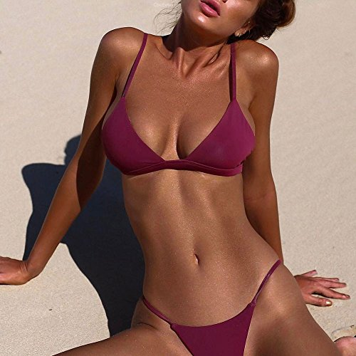 Italily -Bikini Donne Costumi Da Bagno Push Up Due Pezzi Bikini Triangolo Sportivi Beachwear Wine