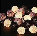 Ghope LED Kugeln Bälle Lampion Lichterkette 20er Partylichterkette Deko für Innen Balkon Party Weihnachten Hochzeit Feiertag Batterie-betrieben 3m Warmweiß Licht ,Grau Serie