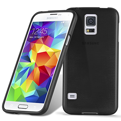 Preisvergleich Produktbild Cadorabo Hülle für Samsung Galaxy S5 / S5 NEO - Hülle in SCHWARZ – Handyhülle aus TPU Silikon in gebürsteter Edelstahloptik (Brushed) Silikonhülle Schutzhülle Soft Back Cover Case Bumper